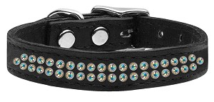 Two Row AB Jeweled Leather Black 16
