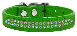 Two Row AB Jeweled Leather Emerald Green 18