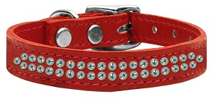 Two Row AB Jeweled Leather Red 16