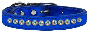 One Row AB Crystal Metallic Leather Blue 14