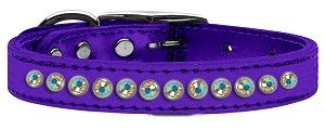 One Row AB Crystal Metallic Leather Purple 12