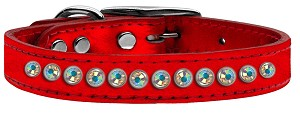 One Row AB Crystal Metallic Leather Red 12