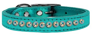 One Row AB Crystal Metallic Leather Turquoise 12
