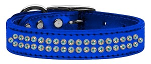 Two Row AB Crystal Metallic Leather Blue 20