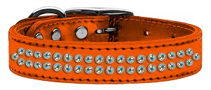 Two Row AB Crystal Metallic Leather Orange 18