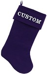 Custom Embroidered Velvet 18 inch Made in the USA Christmas Stocking Purple