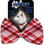 Valentines Day Plaid Pet Bow Tie Collar Accessory with Velcro