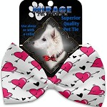 Hearts and Arrows Pet Bow Tie Collar Accessory with Velcro