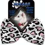 Pink Leopard Hearts Pet Bow Tie Collar Accessory with Velcro