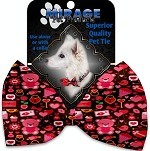Valentines Day Bears Pet Bow Tie Collar Accessory with Velcro