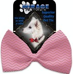 Valentines Day Chevron Pet Bow Tie Collar Accessory with Velcro