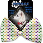 Mardi Gras Polka Dots Pet Bow Tie Collar Accessory with Velcro