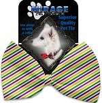 Mardi Gras Stripes Pet Bow Tie Collar Accessory with Velcro