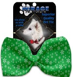 Green and White Snowflakes Pet Bow Tie Collar Accessory with Velcro