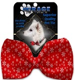 Red and White Snowflakes Pet Bow Tie Collar Accessory with Velcro