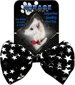 Dog Bow Tie Black and White Stars
