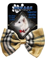 Plaid Cream Pet Bow Tie Collar Accessory with Velcro