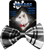 Plaid White Pet Bow Tie Collar Accessory with Velcro