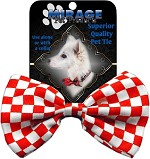 Dog Bow Tie Checkered Red