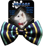 Dog Bow Tie Purple and Aqua Stripes