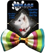 Funky Stripes Pet Bow Tie Collar Accessory with Velcro