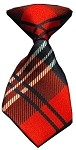 Dog Neck Tie Plaid Red