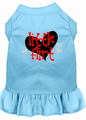 Little Flirt Screen Print Dog Dress Baby Blue Lg