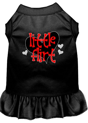 Little Flirt Screen Print Dog Dress Black XS