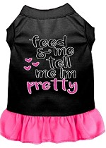 Tell me I'm Pretty Screen Print Dog Dress Black with Bright Pink Med (12)