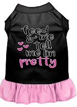 Tell me I'm Pretty Screen Print Dog Dress Black with Light Pink Med (12)
