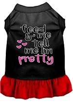 Tell me I'm Pretty Screen Print Dog Dress Black with Red XS (8)