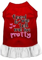 Tell me I'm Pretty Screen Print Dog Dress Red with White XS (8)