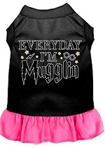 Everyday I'm Mugglin Screen Print Dog Dress Black with Bright Pink XS (8)