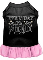 Everyday I'm Mugglin Screen Print Dog Dress Black with Light Pink XS (8)