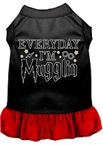Everyday I'm Mugglin Screen Print Dog Dress Black with Red XS (8)