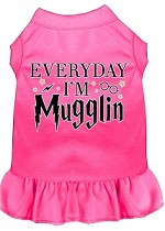 Everyday I'm Mugglin Screen Print Dog Dress Bright Pink Med (12)