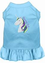Unicorns Rock Embroidered Dog Dress Baby Blue Med