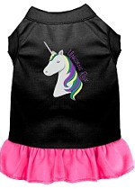 Unicorns Rock Embroidered Dog Dress Black with Bright Pink Sm