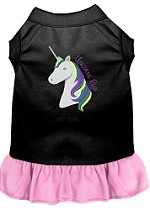 Unicorns Rock Embroidered Dog Dress Black with Light Pink Sm