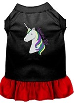 Unicorns Rock Embroidered Dog Dress Black with Red Sm