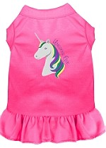 Unicorns Rock Embroidered Dog Dress Bright Pink Med
