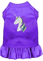 Unicorns Rock Embroidered Dog Dress Purple Med