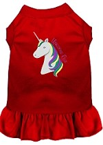 Unicorns Rock Embroidered Dog Dress Red Sm