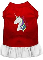 Unicorns Rock Embroidered Dog Dress Red with White Sm