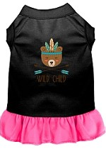 Wild Child Embroidered Dog Dress Black with Bright Pink Sm (10)