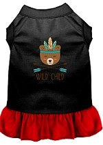 Wild Child Embroidered Dog Dress Black with Red Sm (10)