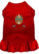 Wild Child Embroidered Dog Dress Red Med (12)