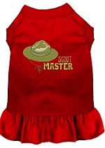 Scout Master Embroidered Dog Dress Red Sm (10)