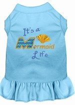 Mermaid Life Embroidered Dog Dress Baby Blue Sm (10)