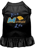 Mermaid Life Embroidered Dog Dress Black Sm (10)